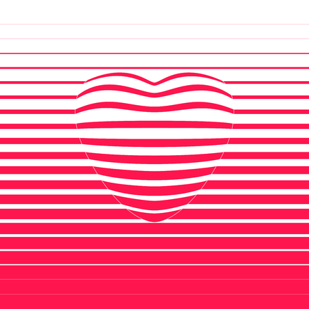 Red striped heart shape. RGB. Global color. Gradients free