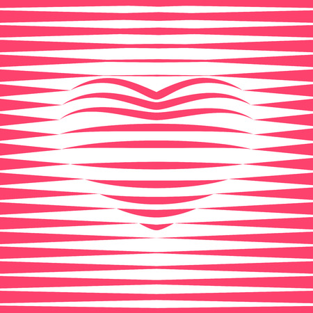 single color image: Red striped heart shape. RGB. Global color. Gradients free