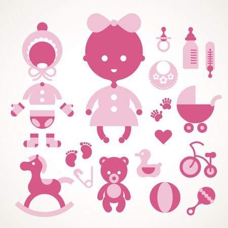 first birthday: Vector baby icon set. Eps8. RGB. Global color