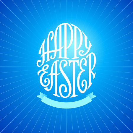 egg shape: Hand drawn phrase Happy Easter inscribed in a egg shape