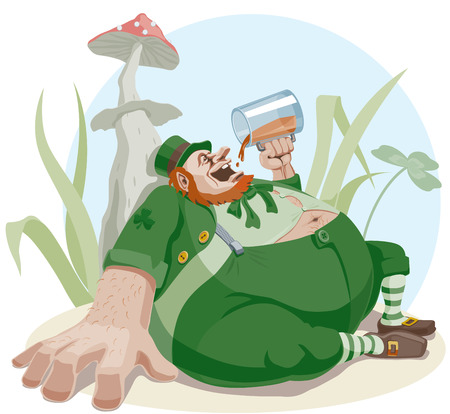 leprechaun hat: Fat leprechaun with a beer sitting in the grass.