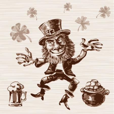 patric: hand drawn leprechaun.