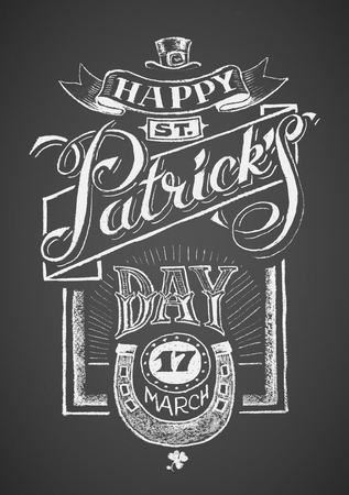 patricks: Happy St. Patricks Day Chalk drawing.  Illustration