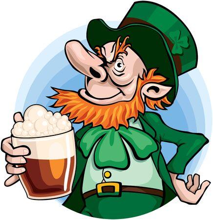leprechaun: Leprechaun with glass of beer.