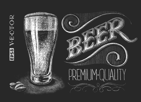 barra de bar: Ilustraci�n vectorial de vaso de cerveza tiza en la pizarra. Eps8. RGB. Color global. Degradados libres. Cada uno de los elementos tienen una agrupaci�n sem�ntica