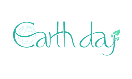 short phrase: Short phrase Earth Day with leaves. Eps8. RGB. Global colors. Gradients free