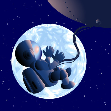 umbilical cord: Astronaut floating in a fetal position in the open space. Eps8. RGB. Organized by layers. Global colors. Gradients used Illustration