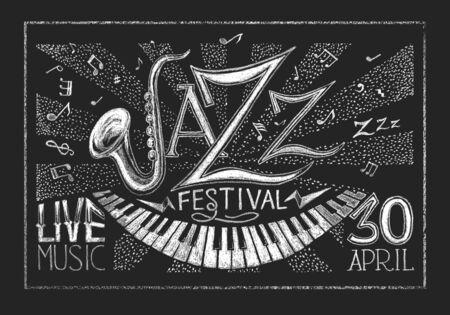 notas musicales: Vector del cartel del Festival de Jazz en la pizarra.