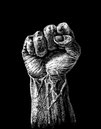 clenched fist: Vector raised hard clenched fist drawn on the chalkboard.