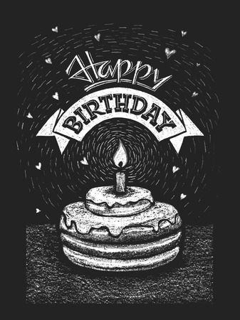 Happy birthday vector illustration on the chalkboard. RGB. One global color. Gradients free. Each elements are grouped separately
