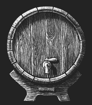 whisky: Vecteur baril avec robinet dessiné sur le tableau noir. Eps8. RVB. Une couleur mondiale. Dégradés gratuits. Chaque éléments sont groupées séparément Illustration