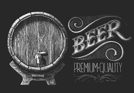 Vector barrel of beer drawn on the chalkboard.   RGB. One global color. Gradients free. Each elements are grouped separately Ilustração