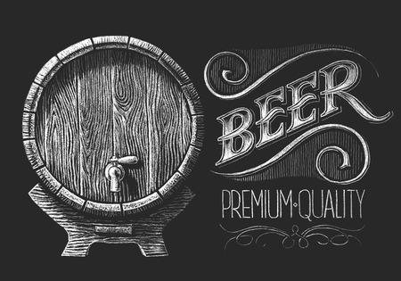 cerveza negra: Vector barril de cerveza dibujado en la pizarra. RGB. Un color global. Degradados libres. Cada elementos se agrupan por separado Vectores