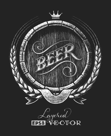 Vector barrel of beer drawn on the chalkboard. RGB. One global color. Gradients free. Each elements are grouped separately  イラスト・ベクター素材
