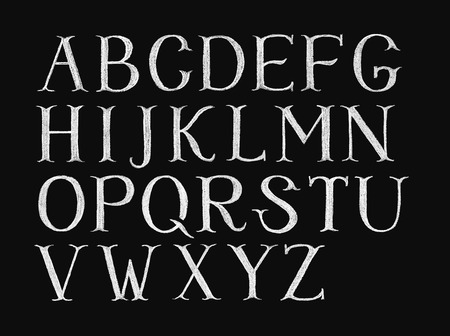 uppercase: Decorative capital letters hand-drawn on a chalkboard