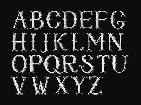 Decorative capital letters hand-drawn on a chalkboard