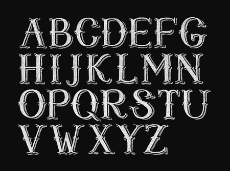 letter b: Decorative capital letters hand-drawn on a chalkboard