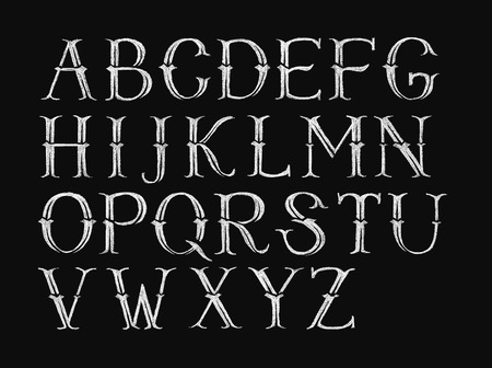 alphabetical order: Decorative capital letters hand-drawn on a chalkboard