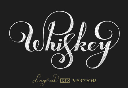 calligraphic design elements: Word Whiskey is handwritten on chalkboard.   Transparency used. RGB. Global colors. Gradients free. Each elements are grouped separately