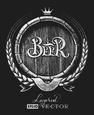 Vector barrel of beer with wheat wreath drawn on the chalkboard.   Transparency used. RGB. Global colors. Gradients free. Each elements are grouped separately Stock Illustratie