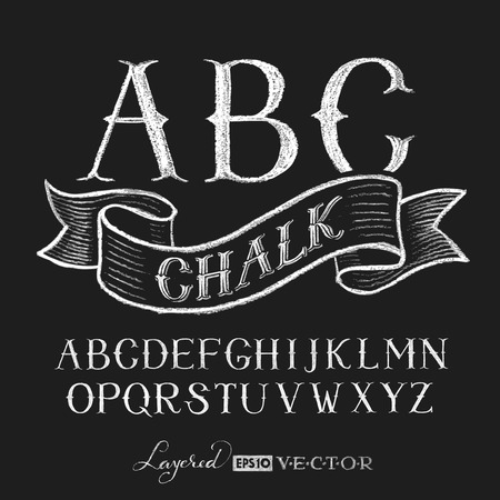 chalk drawing: Decorative capital letters hand drawn on a chalkboard.   Transparency used. RGB. Global colors. Gradients free. Each elements are grouped separately