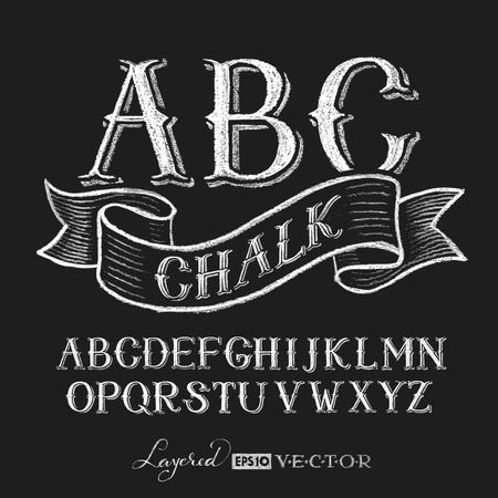 type: Decorative capital letters hand drawn on a chalkboard.  Transparency used. RGB. Global colors. Gradients free. Each elements are grouped separately Illustration