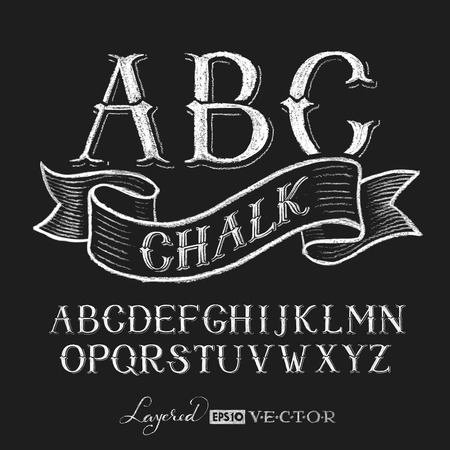 chalk board: Decorative capital letters hand drawn on a chalkboard. Transparency used. RGB. Global colors. Gradients free. Each elements are grouped separately