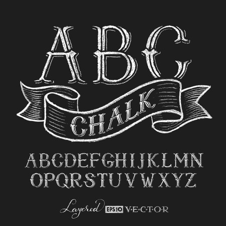 serif: Decorative capital letters hand drawn on a chalkboard.  Transparency used. RGB. Global colors. Gradients free. Each elements are grouped separately Illustration