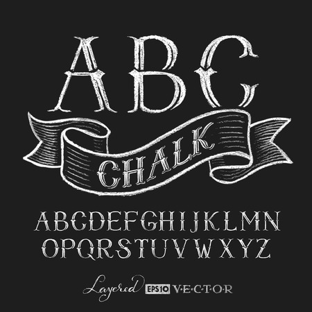 alphabetical order: Decorative capital letters hand drawn on a chalkboard. Eps10. Transparency used. RGB. Global colors. Gradients free. Each elements are grouped separately Illustration