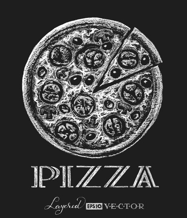 black and white image drawing: Vector pizza. . Chalk drawing.  Transparency used. RGB. Global colors. Gradients free