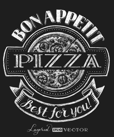 Vector pizza. Chalk drawing.   Transparency used. RGB. Global colors. Gradients free