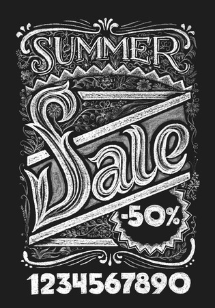 separately: Summer sale. Lettering on chalkboard. Eps10. Transparency used. RGB. Global colors. Gradients free. Each elements are grouped separately Illustration