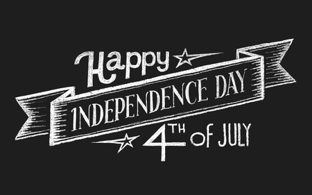 Independence day. Lettering on chalkboard. Eps10. Transparency used. RGB. Global colors. Gradients free. Each elements are grouped separately  イラスト・ベクター素材