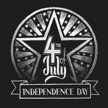 4th of July Independence day. Lettering on chalkboard. Transparency used. RGB. Global colors. Gradients free. Each elements are grouped separately  イラスト・ベクター素材