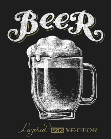 beer in bar: Vector illustration of chalk beer glass on blackboard. Eps10. Transparency used. RGB. Global colors. Gradients free. Each elements are grouped separately