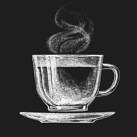 dessin noir et blanc: Vecteur tasse de thé sur le tableau noir. Eps10. Transparence utilisé. RVB. Couleurs globales. Dégradés gratuits