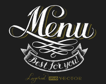 menu icon: Menu. Lettering on chalkboard. Eps10. Transparency used. RGB. Global colors. Gradients free. Each elements are grouped separately