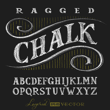 chalk drawing: Decorative capital letters hand drawn on a chalkboard. Eps10. Transparency used. RGB. Global colors. Gradients free. Each elements are grouped separately Illustration