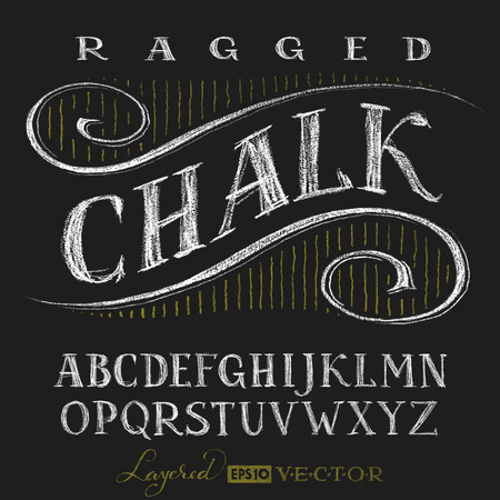 letters of the alphabet: Decorative capital letters hand drawn on a chalkboard. Eps10. Transparency used. RGB. Global colors. Gradients free. Each elements are grouped separately Illustration