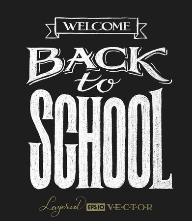 Back to school.  Lettering on chalkboard. Eps10. Transparency used. RGB. Global colors. Gradients free