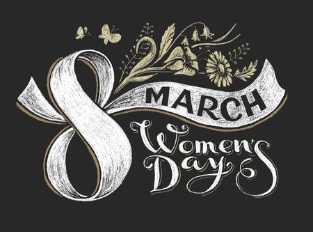 simbolo de la mujer: 8 de marzo. Tiza letras. Transparencia utilizada. RGB. Mundial de colores. gradientes gratuitas Vectores