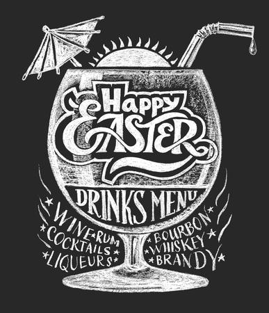 brandy: Easter drinks menu. Chalk drawing. Transparency used. RGB. Global colors. Gradients free
