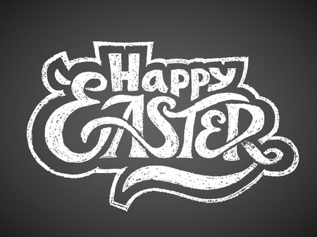 Happy Easter. Chalk Lettering. RGB. Global colors