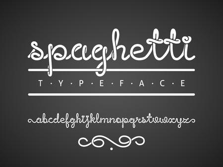 Alfabeto dalle lettere scritte da una linea continua come un spaghetti. Tutte le lettere sono raggruppate separatamente Vettoriali
