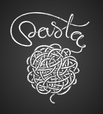 Pasta word written by one continuous line like a spaghetti and spaghetti snarl drawn on chalkboard