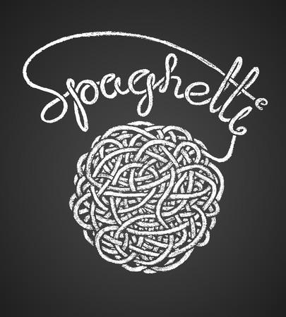 italian pasta: Spaghetti word written by one continuous line like a spaghetti and spaghetti snarl drawn on chalkboard.