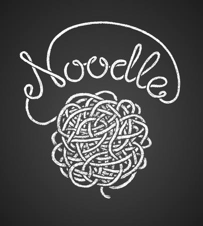 snarl: Noodle word written by one continuous line like a spaghetti and spaghetti snarl drawn on chalkboard. Illustration