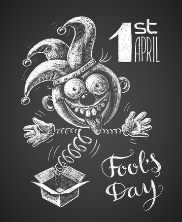 springing: Chalk drawing of a jester springing out of the box.