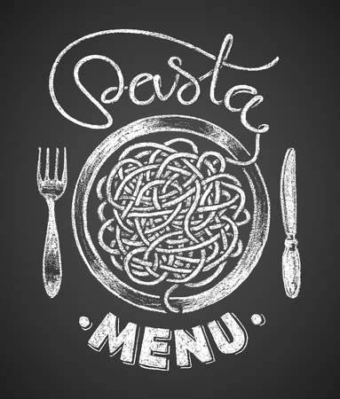Pasta word written by one continuous line like a spaghetti and spaghetti snarl drawn on chalkboard.