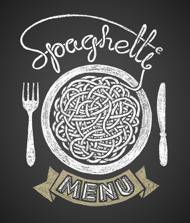 snarl: Spaghetti word written by one continuous line like a spaghetti and spaghetti snarl drawn on chalkboard.